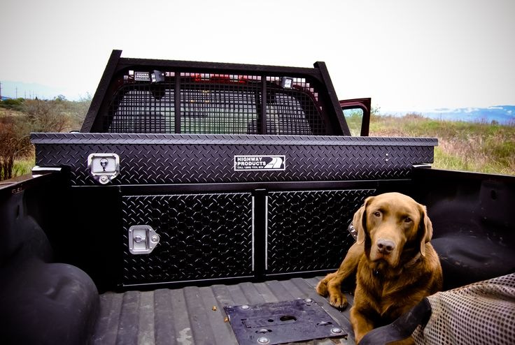 Highway Products Top Gun Kennel Box - This box offers a secure, comfortable way to transport your animals. Room for two big dogs! Doors open from outside to keep dogs separated and with the locks towards the outside it's easier to open from the side of the truck so you won't have to crawl into the bed to open it. Has the same great features as the above boxes. Sits on the deck of your bed. Can be used in vans and SUV's.