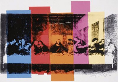 "Last Supper by Andy Warhol, 1986. Warhol did more than 100 ""Last Supper"" paintings to inaugurate a new gallery in Milan located across the street from da Vinci's ""The Last Supper."" Less than a month after the exhibit he died from complications resulting from routine gallbladder surgery"