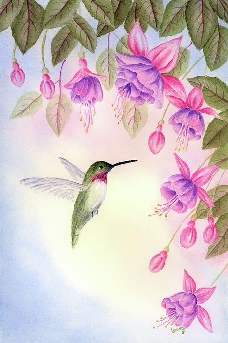 Hummingbird Painting - Hummingbird With Fuchsia by Leona Jones
