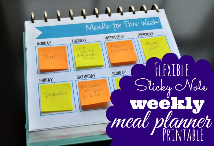 Free Sticky Note Meal Planner Printable - Mama's Got It Together