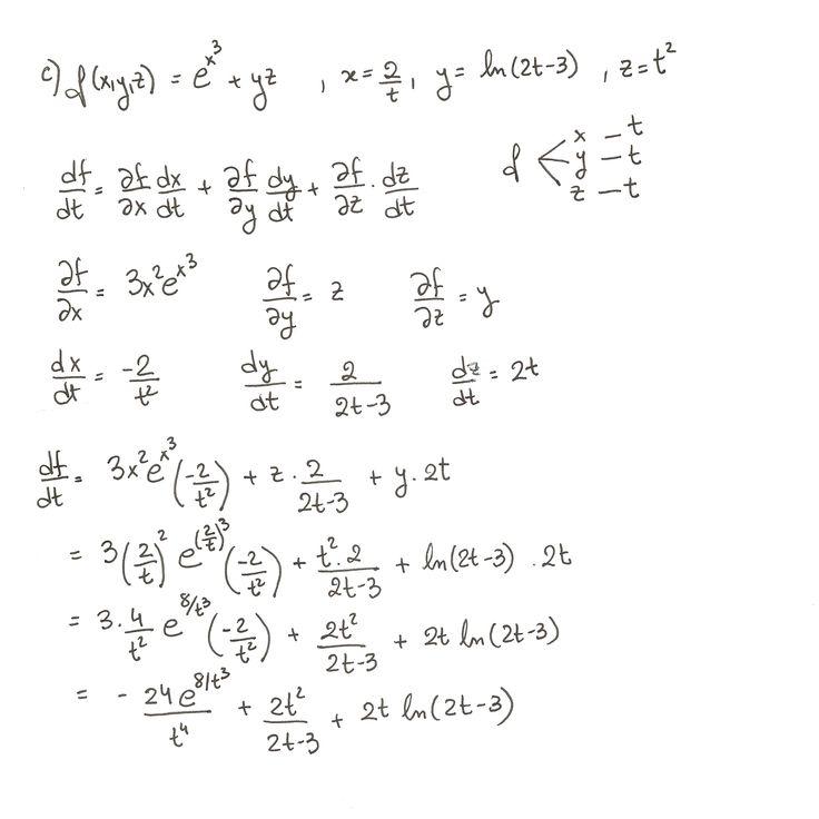 Ejercicio 3 resuelto. Tema: regla de la cadena funciones de varias variables