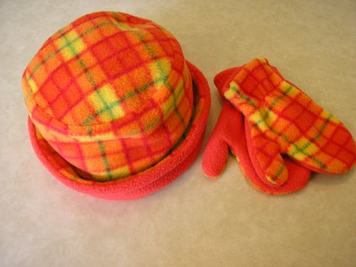 Childs Orange Tartan Fleece Hat Mitts 18-36 mths from Jacaranda £7.99