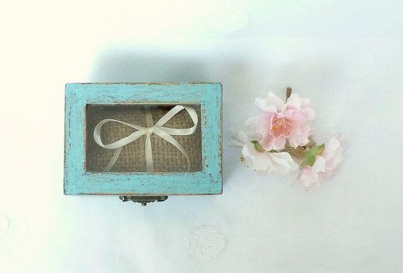 Wedding Ring Bearer Pillow Box Beach Ring Bearer by SayaArtDesign