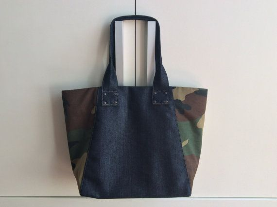 Tote in denim lucido by Yosshy on Etsy