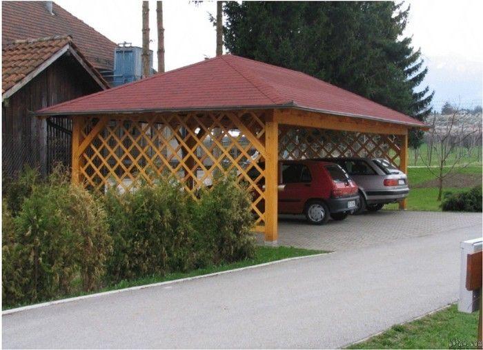 Cheap Wooden Carport W Open Trellis Sides Outdoors
