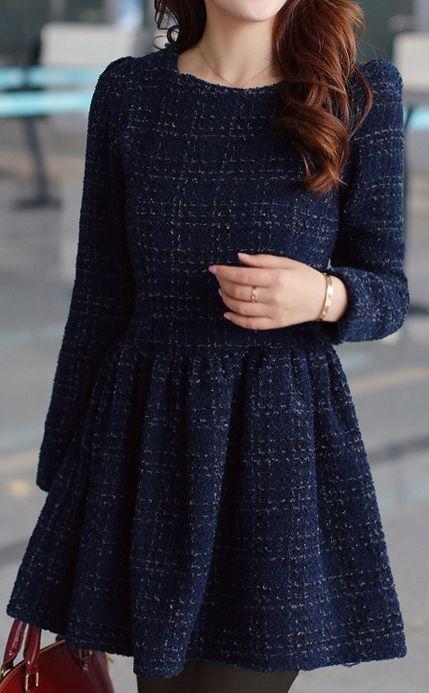 Navy Tweed Dress.