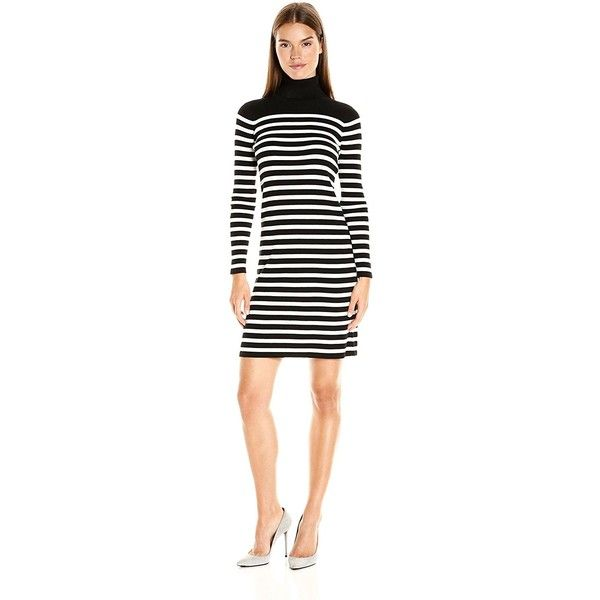 Vince Camuto Women's Long Sleeve Stripe Turtleneck Sweater Dress (225 ILS) ❤ liked on Polyvore featuring dresses, striped turtleneck, long sleeve turtleneck dress, long-sleeve turtleneck dresses, long sleeve dresses and white dress