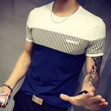 The 2016 New Summer  Men'S Patchwork T-Shirt Striped T-Shirts Fashion  Casual T Shirts   Tee Shirt Homme