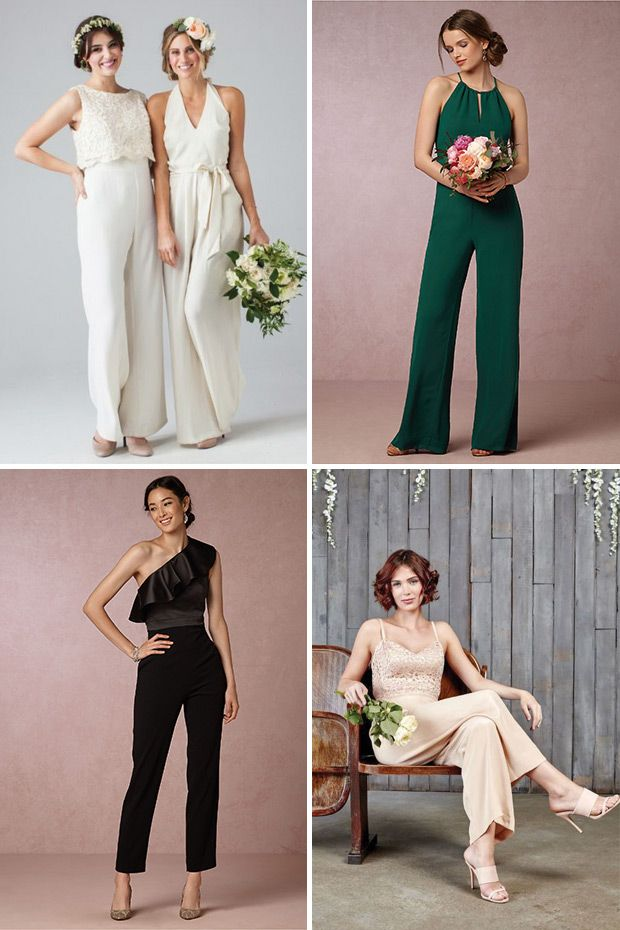 Top Bridal Style Trends for 2017 / Bridesmaids in Jumpsuits / Trousers / www.onefabday.com