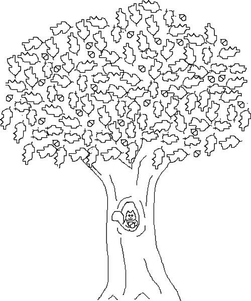Fall Tree And Squirrel Coloring Page