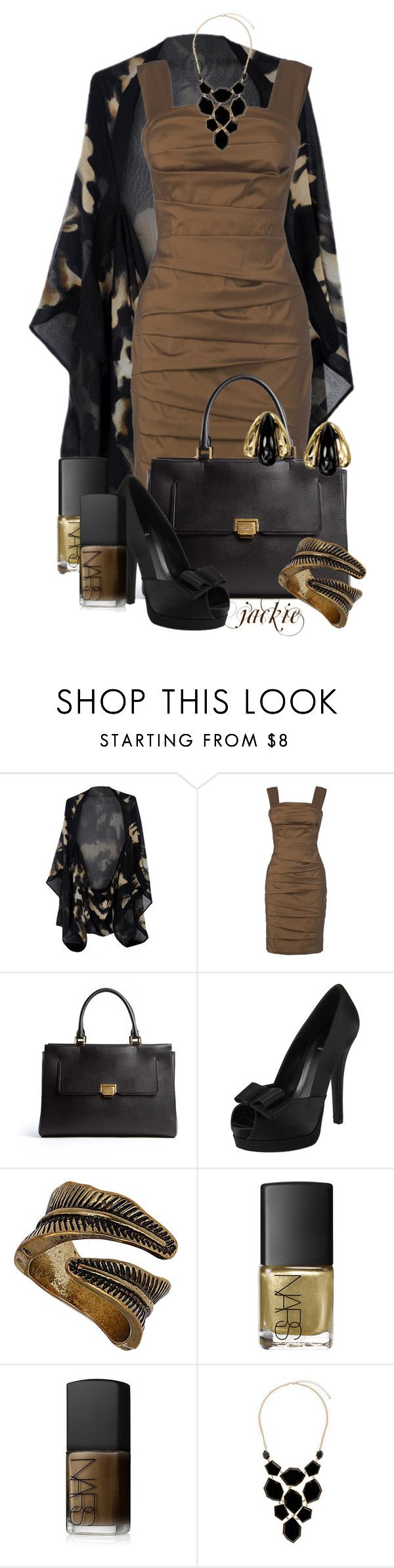 """""""Black and Brown"""" by jackie22 ❤ liked on Polyvore featuring Alexander McQueen, Phase Eight, Smythson, Fendi, Dorothy Perkins, NARS Cosmetics, Wallis, peep-toe shoes, statement necklaces and camo"""
