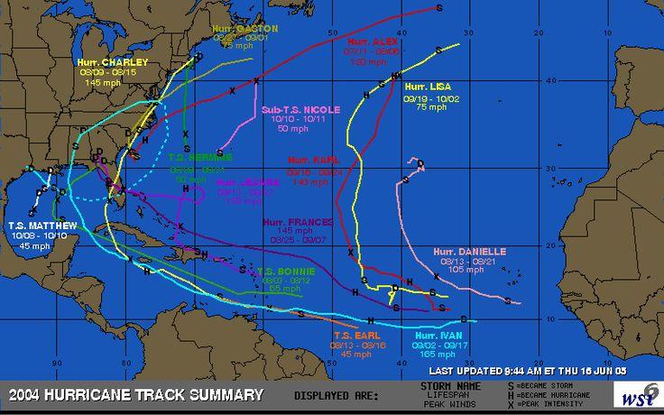 Intellicast - 2004 Hurricane Track Summary in United States
