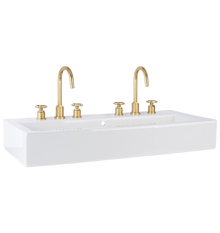 West Slope Wall Mount Wide Sink Two Standard Faucet Spreads