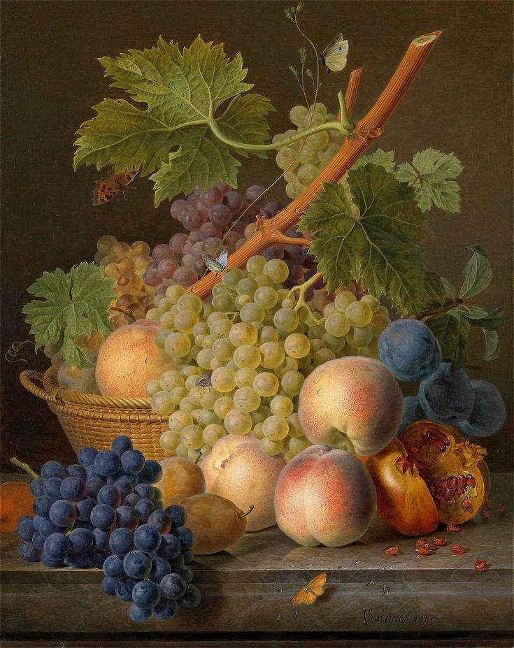 jan frans van dael~1809 ~still life with grapes and peaches in a basket
