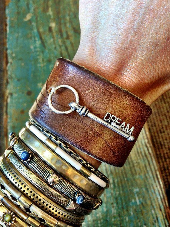Key DREAM Vintage Leather Bracelet Cuff is Bohemian Women's Jewelry  EMBELLISHED Bracelet Cuff Jewelry Leather Bangle OOAK (Cuff Emb) on Etsy, $38.00