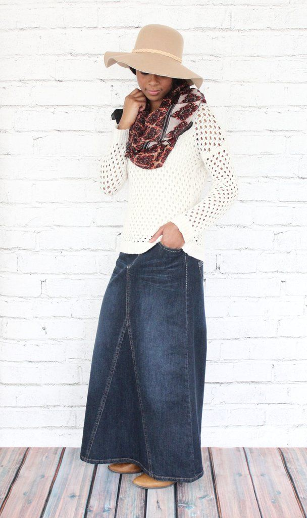 'Ava' Long Denim Skirt