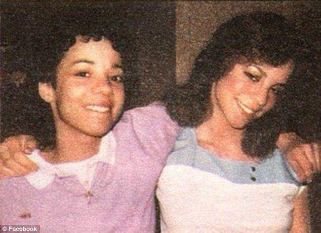 Mariah Carey with brown hair and sister..