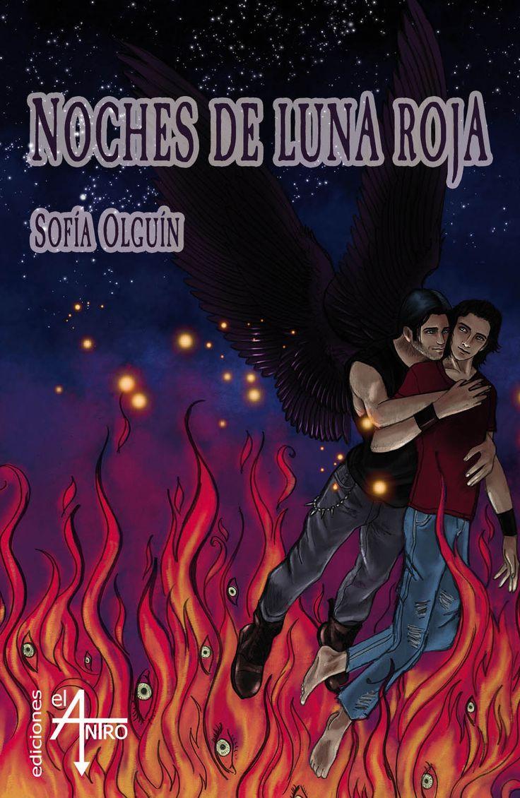 Portada de «Noches de luna roja», de Sofía Olguín - Colección Libídine - Tags: ángeles, demonios, fantasía, romántico, yaoi.