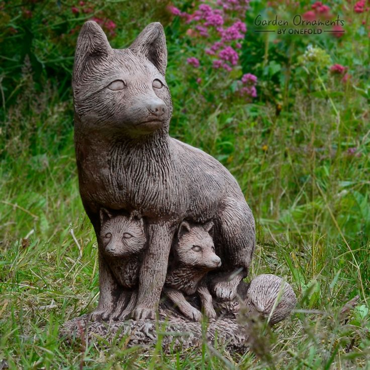 Perched On A Rock Base, This Fox Family Statue Is The Perfect Addition To  The. Family GardenGarden OrnamentsA RockStatuesFoxes