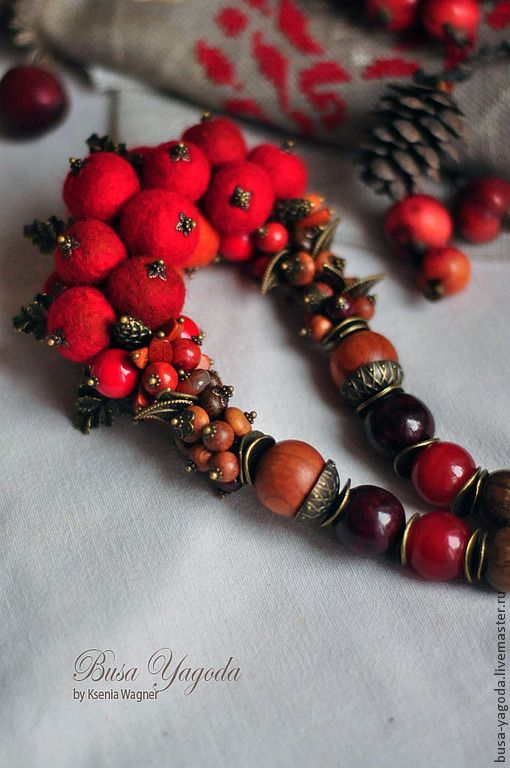 """Купить Колье """"Боярышник"""" - ярко-красный, красный, рыжий, коричневый, красное колье, красные бусы"""