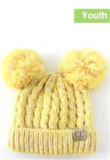 977d3a5f439 C.C.+Double+Pom+Beanie+Marled+Cable+Knit+Beanie+for+Kids +in+Yellow+KID-23-YELLOW