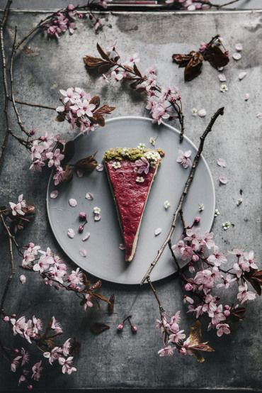 Beautiful food photography: cherry blossom + cake. Amazing food styling! Red + grey