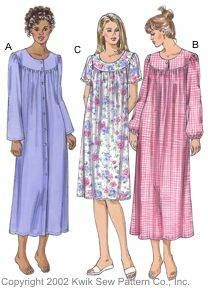 Kwik Sew® Ladies Nightgowns Pattern-kwik sew, kwiksew, nightgown, ladies nightgown, nightgown pattern, old fashion, old fashioned, modes