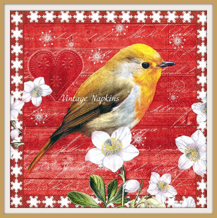 SALE *** 2 PAPER NAPKINS for Decoupage - Christmas Bird Red Rob C076 by VintageNapkins on Etsy