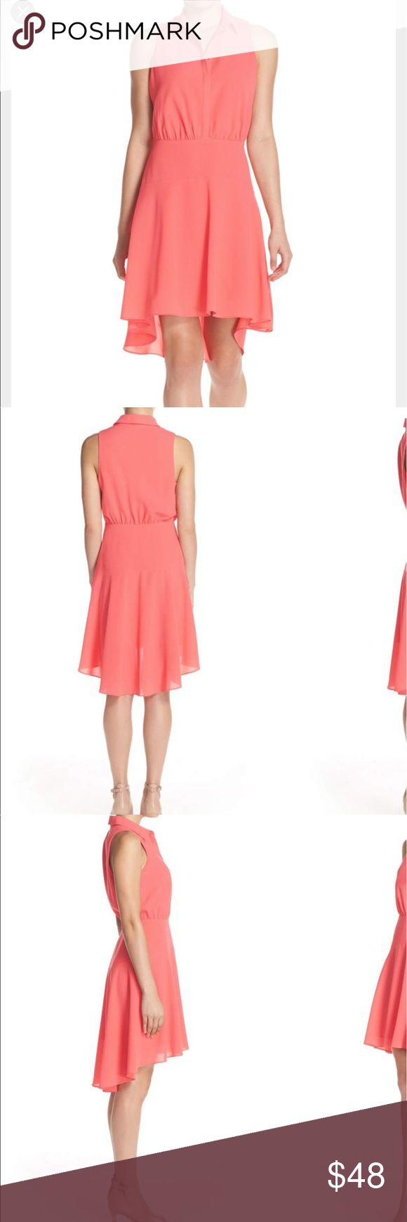 "Nordstrom's Alli&Jay High-Low 🍑 color 👗 medium First pictures are for modeling purposes, were taken from Nordstrom website, 😐No trades or modeling, no rips or stains, armpit to armpit is 18.5"",Waist is 15"".A flowy skirt with a dramatic high/low hem adds trend-savvy appeal to a fit-and-flare shirtdress that serves as the perfect blend of sophisticated and playful. 36 1/2"" front length; 41 1/2"" back length (size Medium). Side zip closure; front button closure. Spread collar. Sleeveless…"