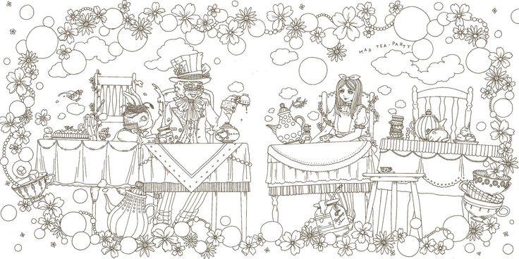 おしゃれな塗り絵BOOK アリスの不思議かわいい物語 : 手塚 ユミコ : 本 : アマゾン