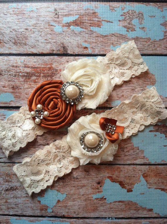 61 different colors / Wedding garter  (((( burnt orange garter SET )))) wedding garters / bridal  garter/  lace garter / vintage lace garter on Etsy, $24.99