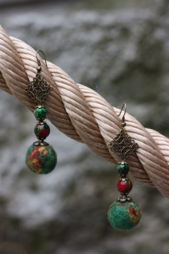 Handmade felted wool earrings / needle felted wool earrings with glass beads