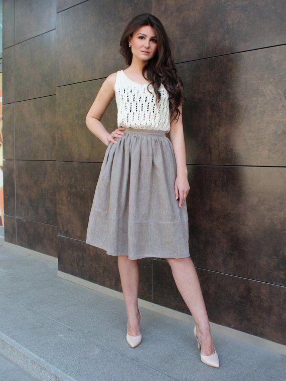 Natural linen made skirt with pockets, 100% Linen Skirt, Knee length skirt high waisted, Plus size a