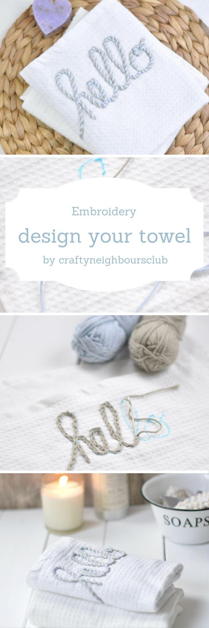 Wie ihr  mit dieser Sticktechnik eure Handtücher mit Monogrammen oder netten Worten besticken könnt