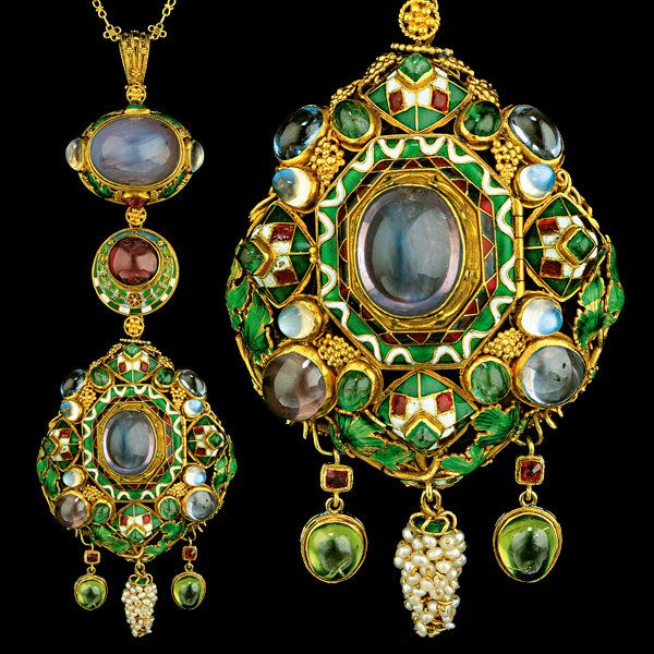 HENRY WILSON  (1864-1934)  							  						  					  					  						A Highly Important Jewelled Gold  Enamel Pendant  (c. 1908						England)