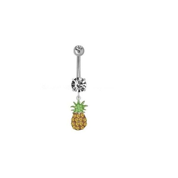 (2) Pineapple Navel Ring - 316L Surgical Steel 14ga 3/8"