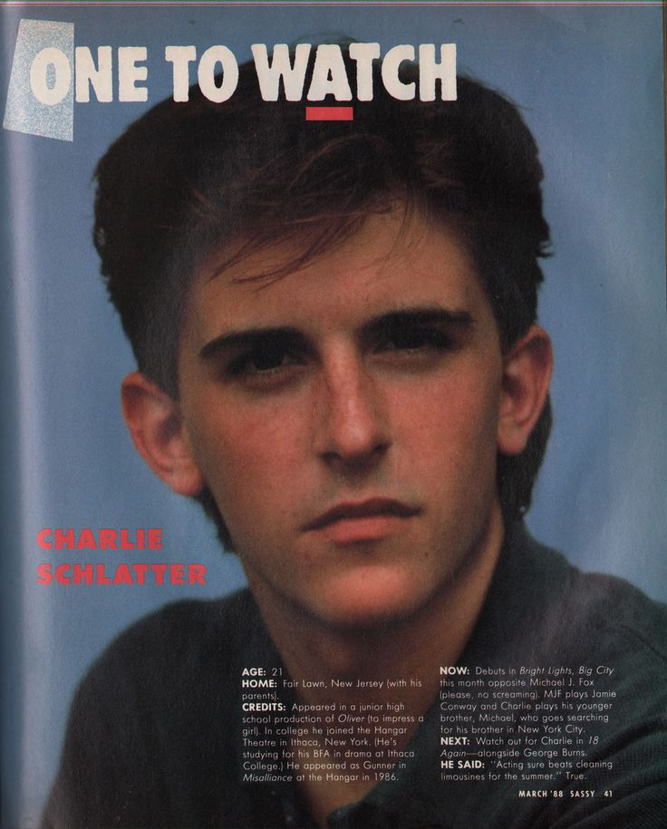 "Sassy, March 1988 - ""One to Watch: Charlie Schlatter"""