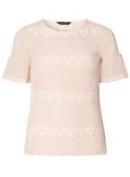 Womens Nude Flute Sleeve Lace T-Shirt- White