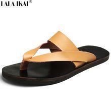 Hombres de cuero Flip Flops 2016 sólido del estilo de roma sandalias de tacón plano Vintage Mens ocasionales respirables calza el tamaño 38-43 XMH0091-5(China (Mainland))