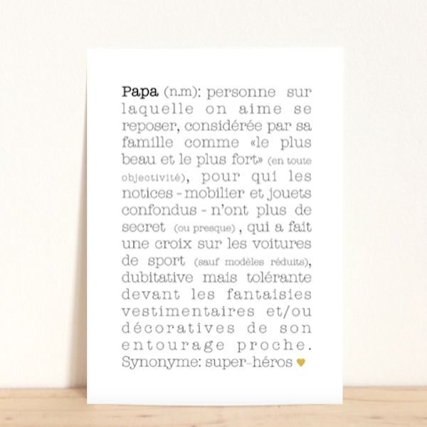 Carte postale Papa, 2.20€ -http://www.babayaga-magazine.com/e-shop-babayaga/carte-postale-papa/ #enfants #deco #papa #carte
