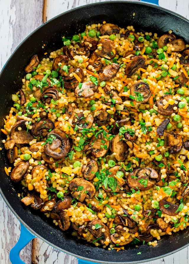 A delicious and simple to make couscous pilaf with sauteed mushrooms that's perfect as a side dish or a meal on its own.