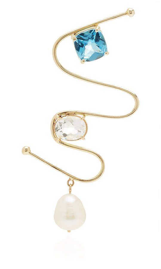 149054dc724e Carole Le Bris Perez Single Pearl and Topaz Earring Perlas