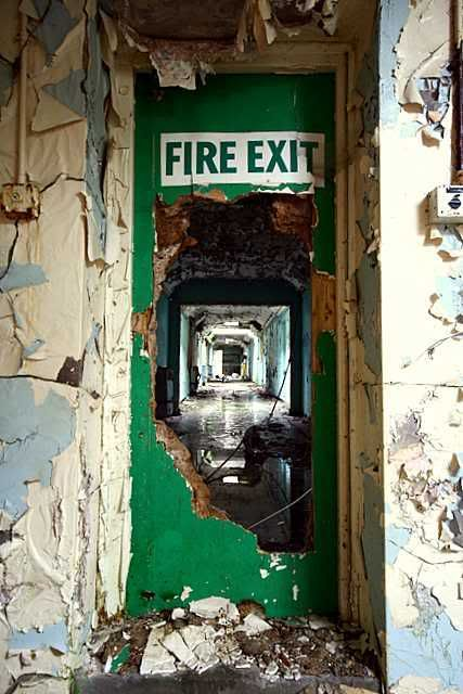 Cane Hill, abandoned asylum. I was drawn to this image at first becasue of the type (this is something im interested in) i then was fasinated by the structure and depth thata the image holds. Becasue of the type this peice almost tells a story, we can see the 'Fire exit' the exit route that once was. The paint decay and rust adds to the details and ives that sense of growth and development.