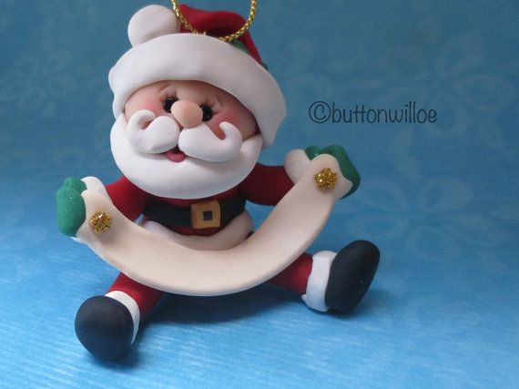 *POLYMER CLAY ~ Jolly PERSONALIZED SANTA ORNAMENT Banner Family Ornament Cute Santa Ornament Hand Sculpted Unique Whimsical Fun Happy Santa Clause Ornament