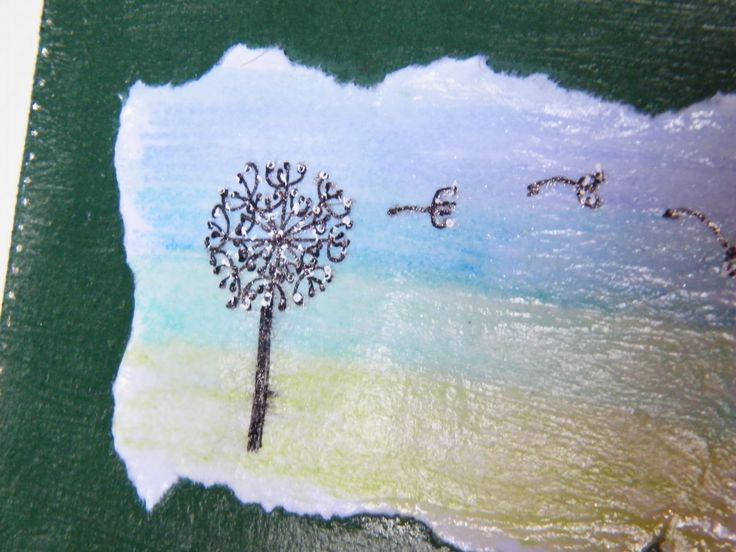 Watercolour background, pen dandelion clock, pvc glue on card