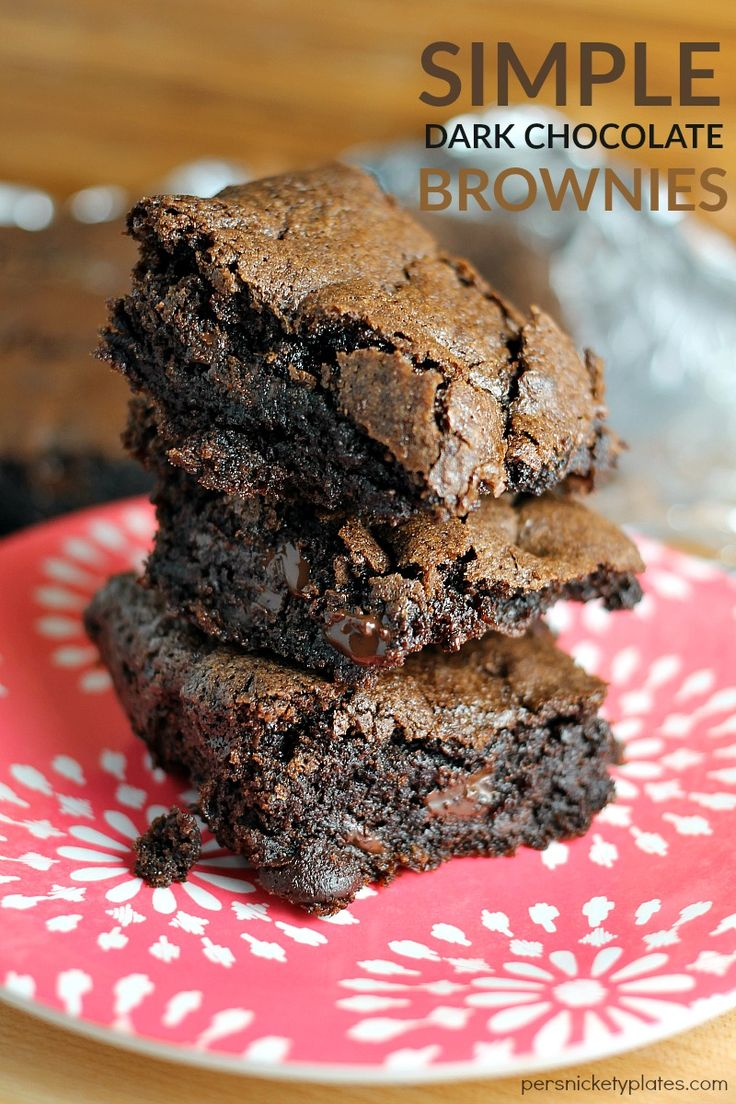 Super simple homemade dark chocolate brownie recipe that makes rich, chocolatey brownies with a perfect flaky crust.
