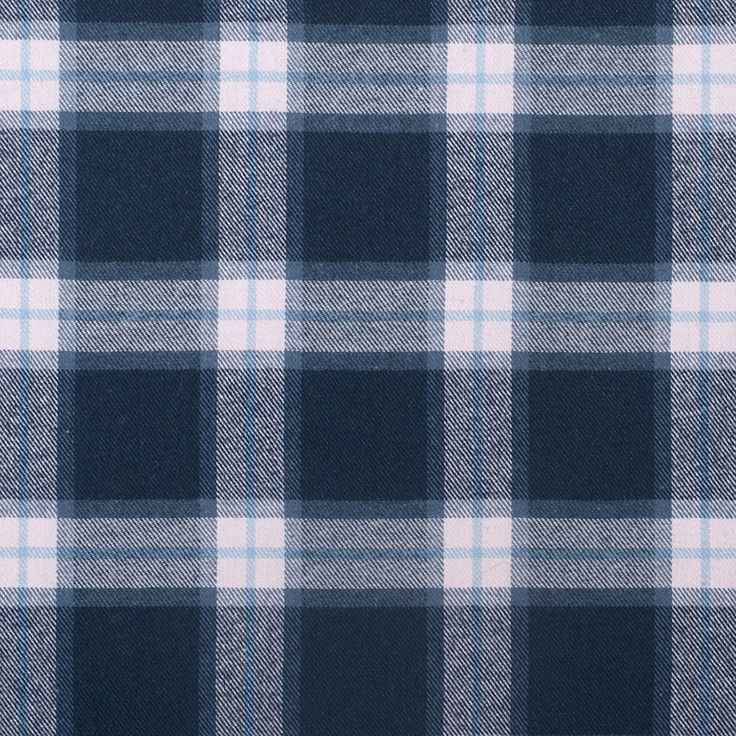 Italian Blue/Rosa Plaid Flannelled Wool Blended Twill Fabric by the Yard   Mood Fabrics