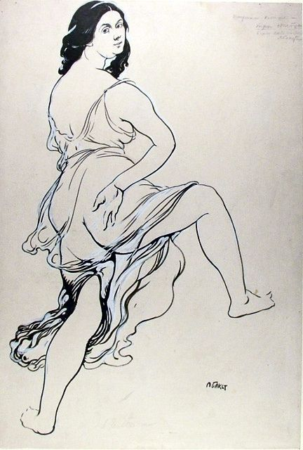 Bakst, Leon (1866-1924) - 1920c. Portrait of Isodora Duncan Dancing (The Ashmolean Museum, Oxford University, UK) by RasMarley, via Flickr