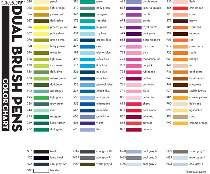 Tombow Dual Brush Pen Color Chart (Have: N65, N79, N95,  879, 977, 192, 245, 451, 476, 491, 553, 565, 679, 847, 946, 025, 090, 772, 873, 800, 942 )