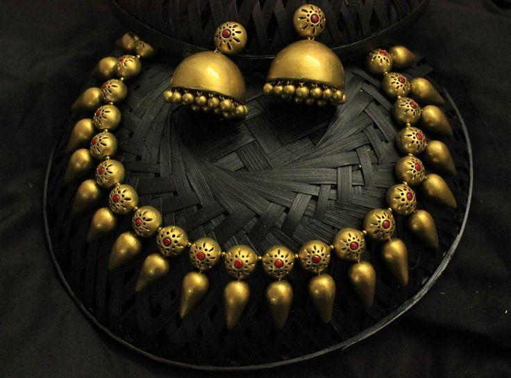 Golden drop terracotta jewellery set